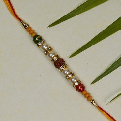 Exclusive Rudraksh Rakhi with Pearls and Beads