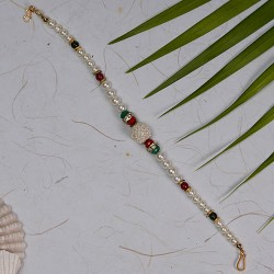 Fabulous Pearls Stones and AD Rakhi