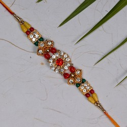 Sparkling AD and Multicolor Beads Rakhi