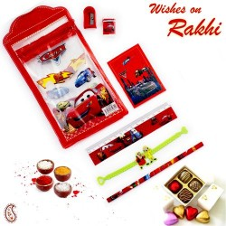 Red and Blue Cars Pouch and Rakhi Kids Hamper