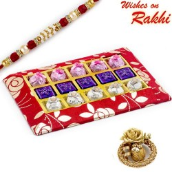 Red and Gold Homemade Chocolates Box with Rakhi