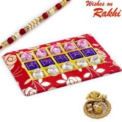 Red and Gold Homemade Chocolates Box with Rakhi