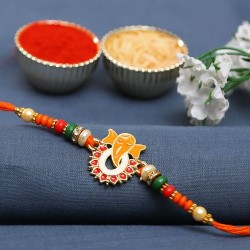 Red and Green Beads Studded Ganesha Motif Rakhi