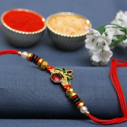 Red and Green Circular Beads Kalash Motif Rakhi