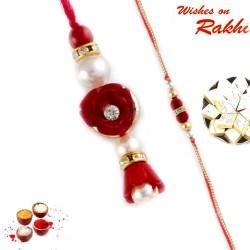 Red and White Shade Beads Embellished Bhaiya Bhabhi Rakhi Set