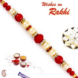 Red Circular Beads Studded Pearl Rakhi