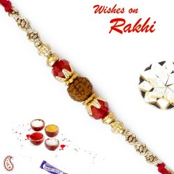 Red Crystal Beads Rudraksh Rakhi