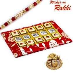 Red Decorative Chocolates Box with Mawa Bite and Rakhi