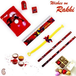 Red Spiderman Pouch Box and Rakhi Kids Hamper