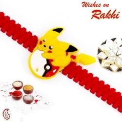 Red Wrist Band Yellow Pikachu Motif Kids Rakhi