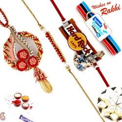 Resham Thread and Gota work Family Rakhi Set with 2 Kids Rakhis