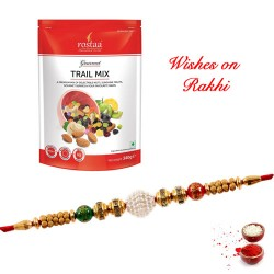 Rostaa Gourmet Trail Mix Pack with Beautiful Rakhi for Brother