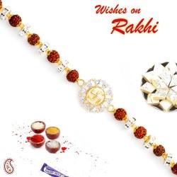 Rudraksh and AD Studded Swastik Motif Bracelet Rakhi