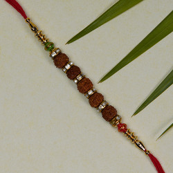Rudraksh and Beads Studded Rakhi