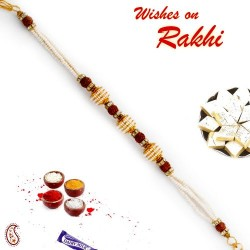 Rudraksh and Tiny Pearl Studded Bracelet Rakhi