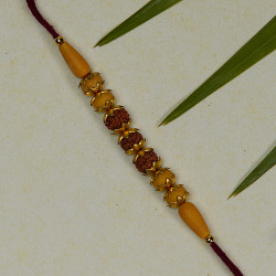 Rudraksh Rakhi with Colored Beads