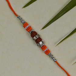 Rudraksh with Coloring Beads Rakhi