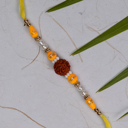 Rudraksh with Pearls and Colored Beads Rakhi