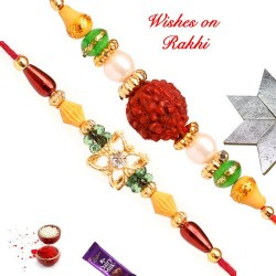 Set of 2 AD and Rudraksh with Pearls and Beads Rakhis