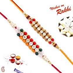 Set of 2 AD Studded Chain Style Rakhi