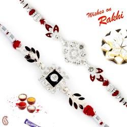 Set of 2 AD Studded Floral Design Silver Rakhi