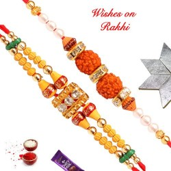 Set of 2 AD with Beads and Double Rudraksh Rakhis