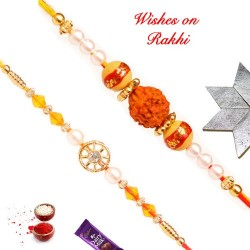 Set of 2 AD with Pearls and Rudraksh with Beads Rakhis