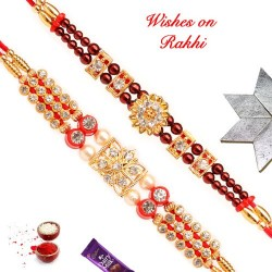 Set of 2 American Diamonds and Pearls Handcrafted Rakhis