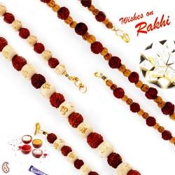 Set of 2 Beads and Rudraksh Embellished Bracelet Rakhi