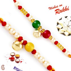 Set of 2 Beads Mauli Thread Rakhi