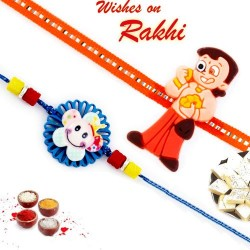 Set of 2 Blue and Orange Kids Rakhi