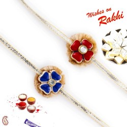 Set of 2 Blue and Red Floral Motif Rakhi