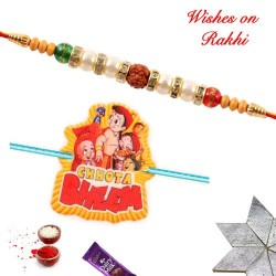 Set of 2 Chhota Bheem Gang and Rudraksh with Pearls Rakhi