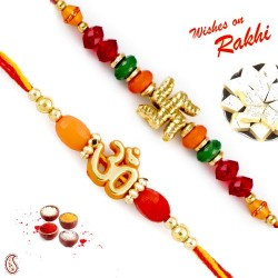 Set of 2 Colorful Beads and Divine Motif Mauli Thread Rakhi