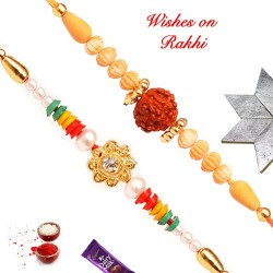 Set of 2 Colorful Rakhi with Rudraksh Rakhi