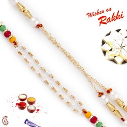 Set of 2 Dual String Chain Style Pearl Rakhi
