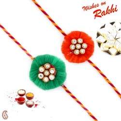 Set of 2 Green and Red Floral Shape AD Studded Rakhi