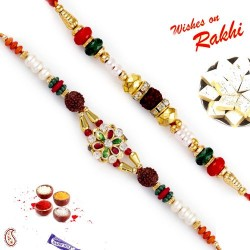 Set of 2 Meenakari Floral Design Rudraksh Rakhi
