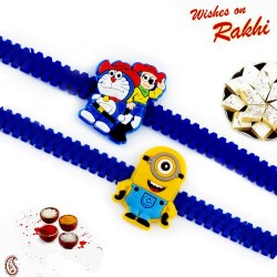 Set of 2 Minion and Doremon Motif Kids Rakhi