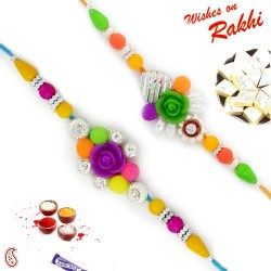 Set of 2 Multicolor Beads and Rose Rakhi