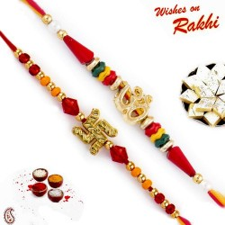 Set of 2 OM and Swastik Motif Beads Embellished Rakhi