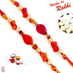 Set of 2 Orange and Red Beads Studded Rakhi