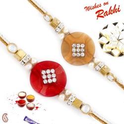 Set of 2 Red and Beige Elegant Rakhi