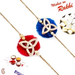 Set of 2 Red and Blue Elegant Rakhi