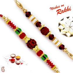Set of 2 Red and Green Crystal Beads Studded Rudraksh Rakhi