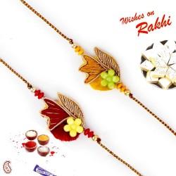 Set of 2 Red and Yellow Base Zardosi Rakhi