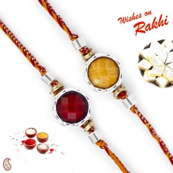 Set of 2 Round Beads Embellished Rakhi