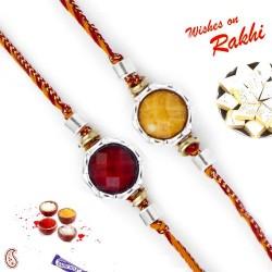 Set of 2 Round Beads Embellished Rakhi