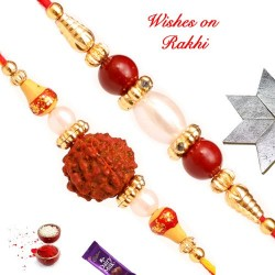 Set of 2 Rudraksh and Pearls with Beads Rakhis