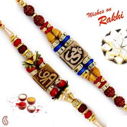Set of 2 Rudraksh Studded Divine Motif Rakhi